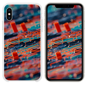 Digital Abstract Zoom Red Pattern Background iPhone XS case