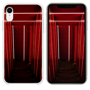 gray narrow stair with red wall iPhone XR case