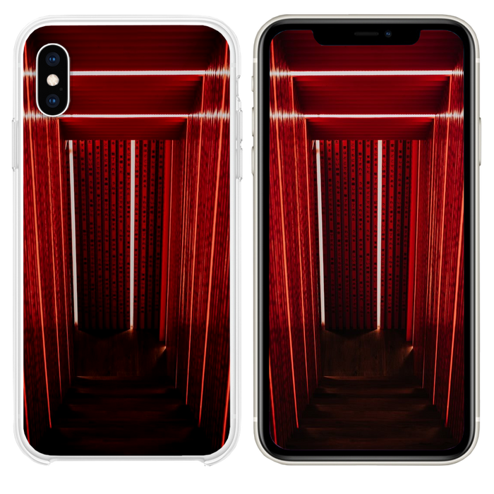 gray narrow stair with red wall iPhone XS case