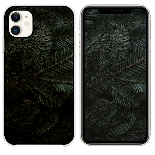 green pine tree leaves iPhone 11 case