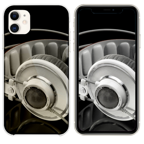 Headphones Black And White iPhone 11 case