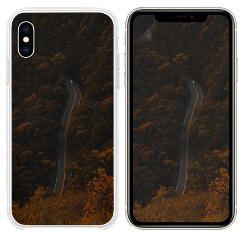 high angle photography of road between trees iPhone XS case