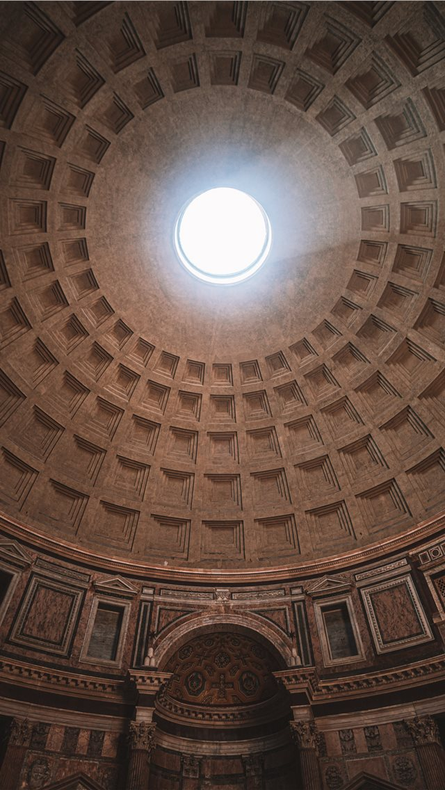 Inside Pantheon Temple In Rome Italy iPhone XS Wallpaper