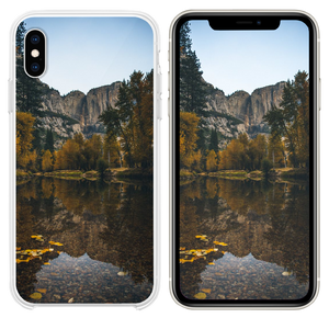landscape photography of lake surrounded with tree iPhone XS case
