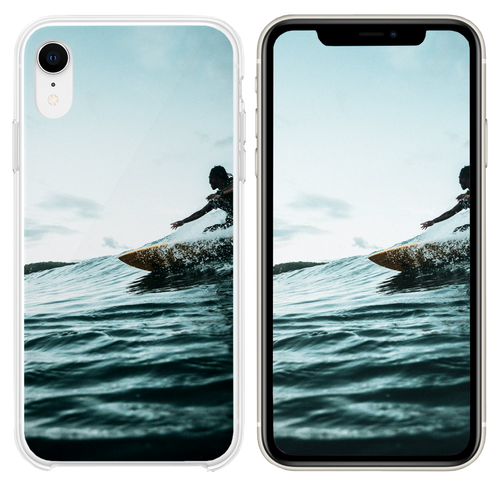 man surfboarding during daytime iPhone XR case