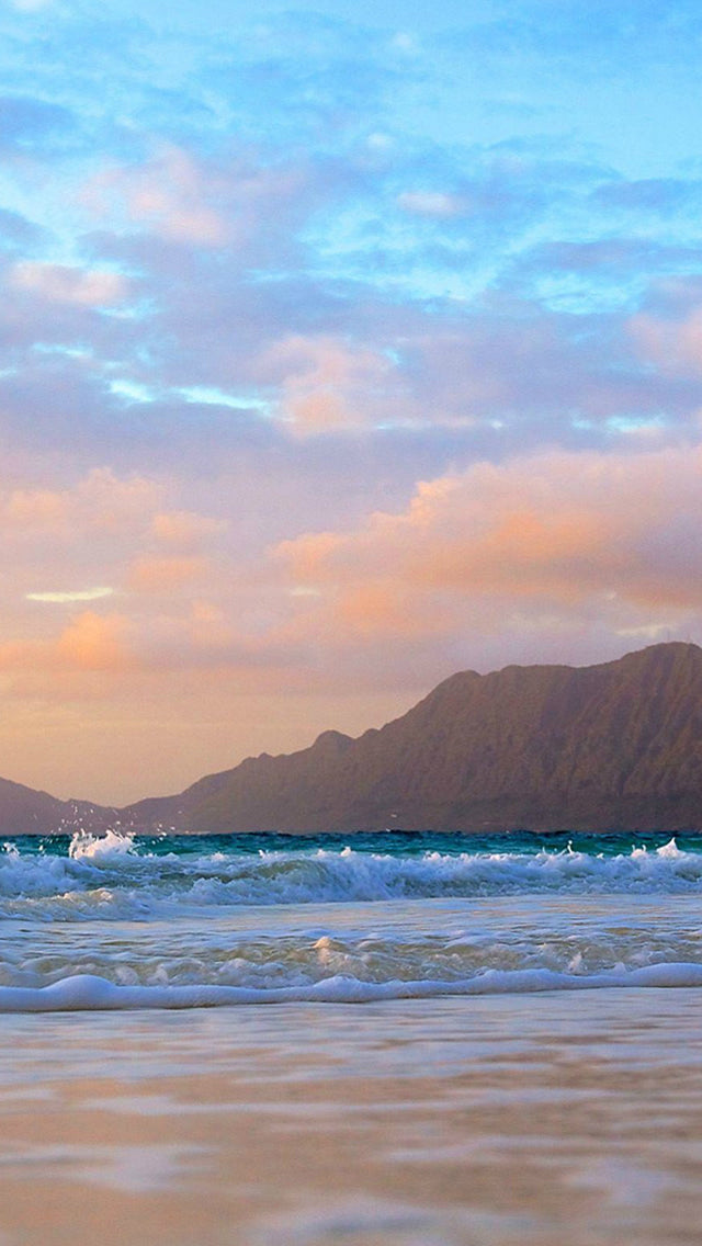 Mountains Background Beach Waves Iphone 11 Pro Max Wallpaper