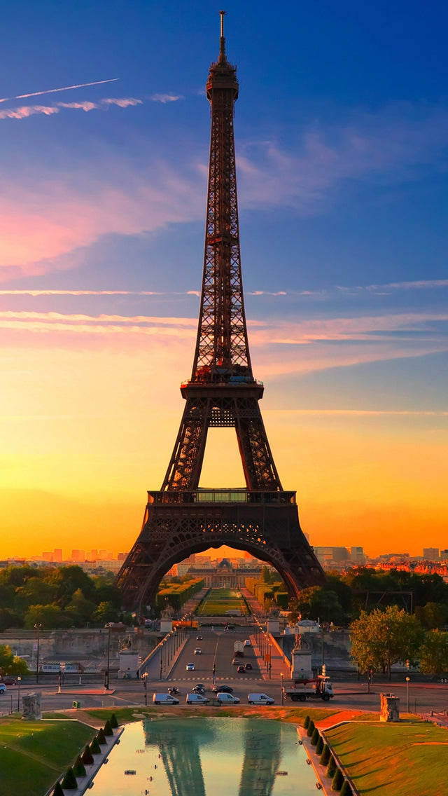 Nature Sunset Eiffel Tower Iphone 11 Pro Max Wallpaper
