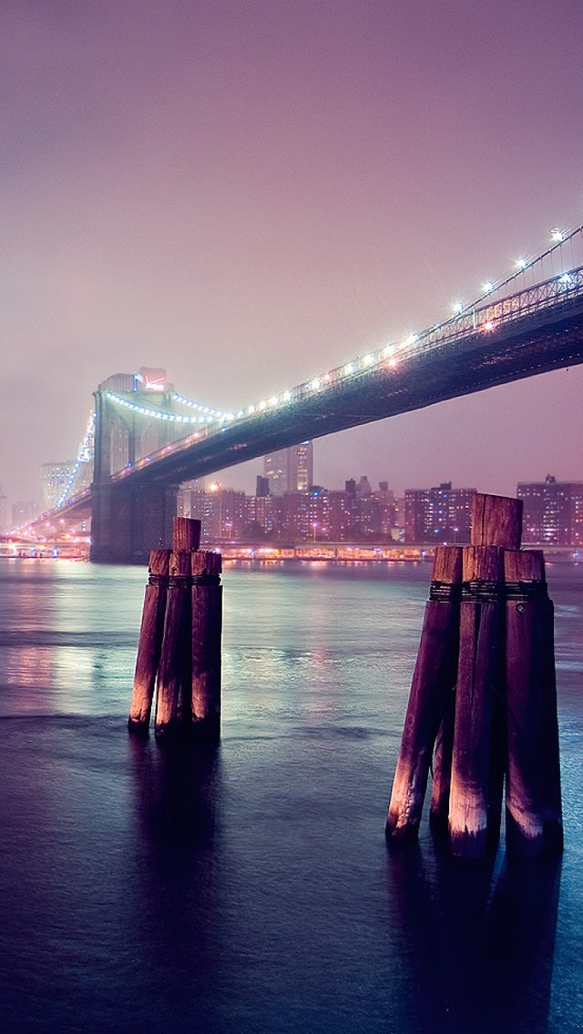 Night Lights River Bridge Iphone 11 Pro Max Wallpaper