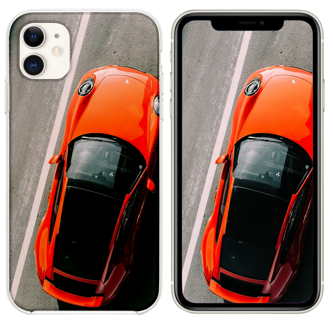 orange vehicle on road close up photography iPhone 11 case