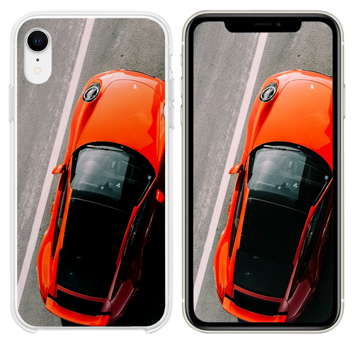 orange vehicle on road close up photography iPhone XR case
