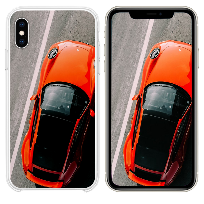 orange vehicle on road close up photography iPhone XS case