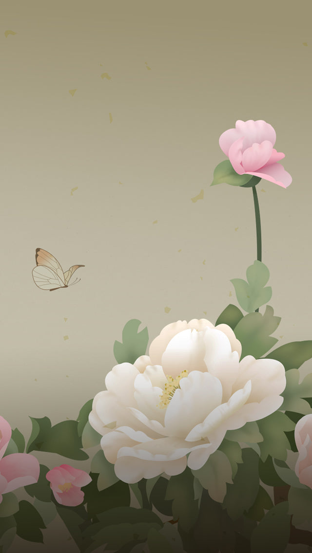 Peony Flowers Butterfly Drawn Iphone 11 Pro Max Wallpaper