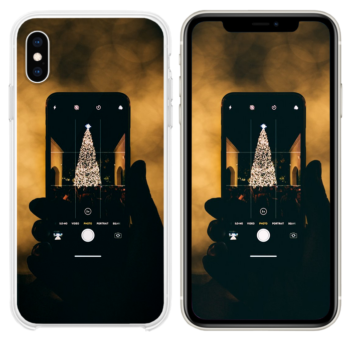 person taking photo of Christmas tree iPhone XS case