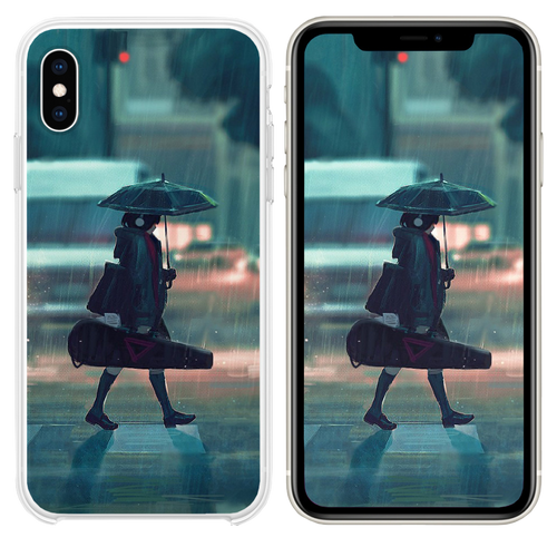 rainy day anime paint girl iPhone XS case