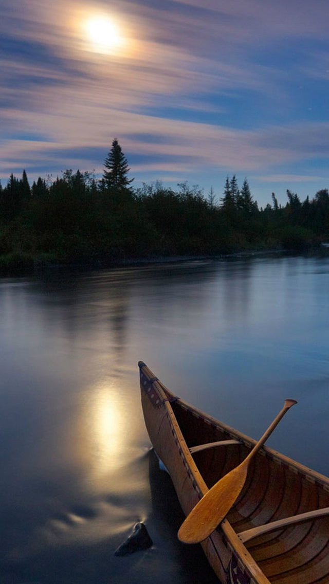 River Boat Sunset Silky Water Iphone 11 Pro Max Wallpaper
