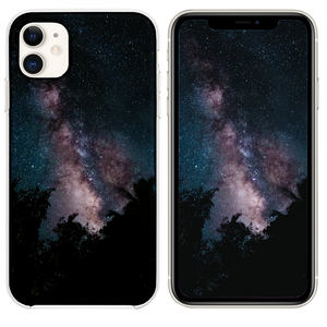 silhouette of trees across starry sky iPhone 11 case