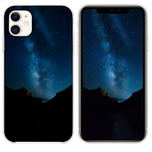 silhouette photography of mountain under sky iPhone 11 case