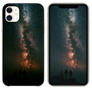 three person looking stars and milky way iPhone 11 case