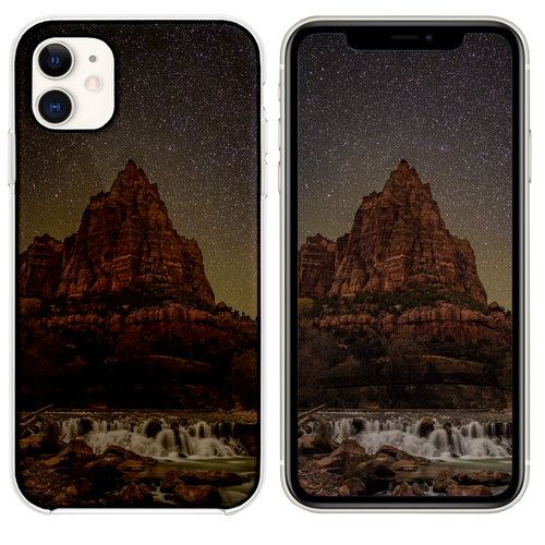 timelapse photography of river overlooking rock mo iPhone 11 case