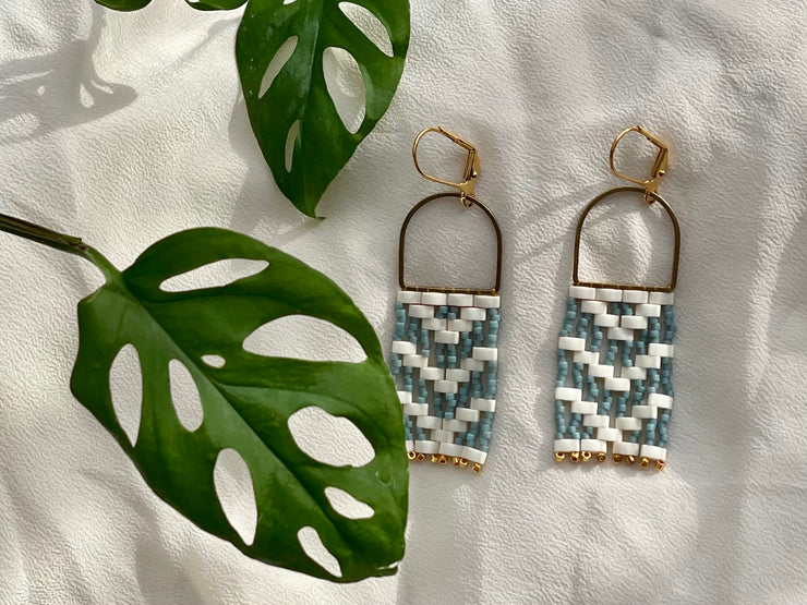 Blue-Grey Michif Woven Danglers