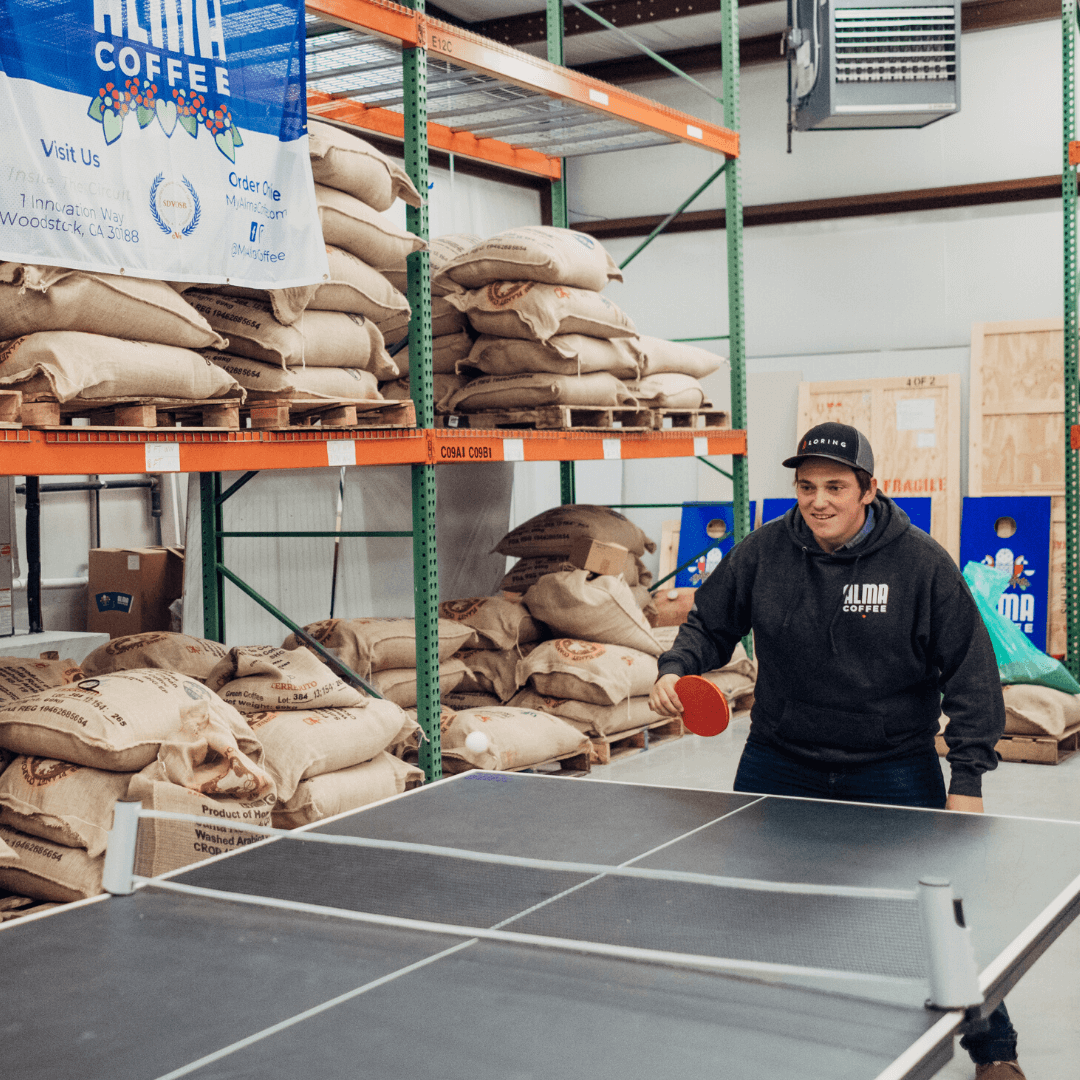 alma coffee ping pong match at the coffee roastery