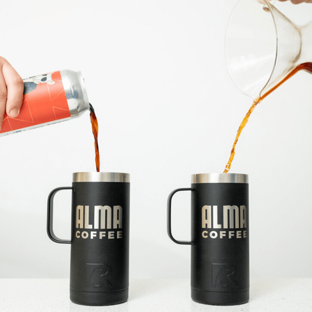rtic double wall insulated coffee tumbler with alma branding engraved on it