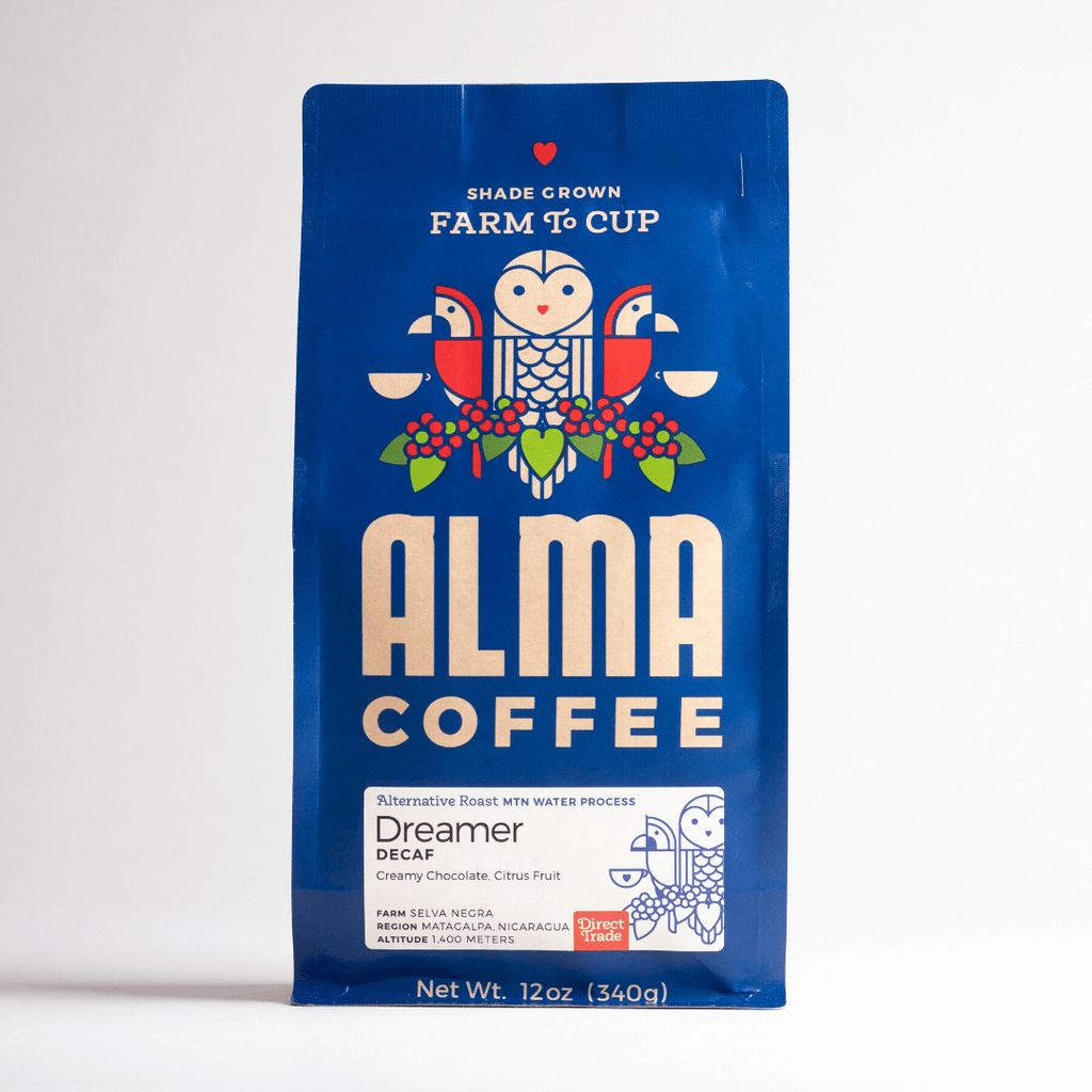 Decaf Coffee from Alma Coffee that is roasted in North Georgia and origin is from a USDA certified organic coffee farm in Honduras