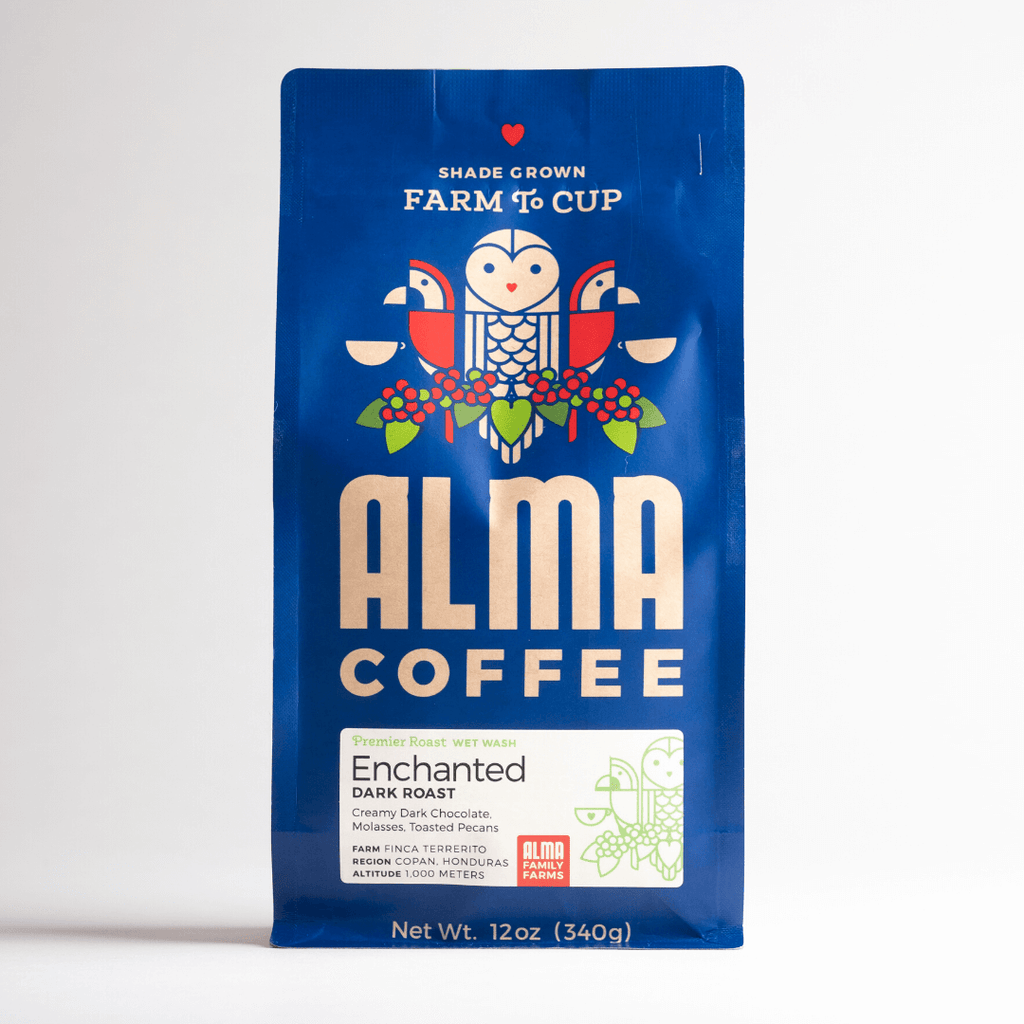 Dark Roast Coffee from Alma Coffee that is roasted in North Georgia and origin is from a USDA certified organic coffee farm in Honduras