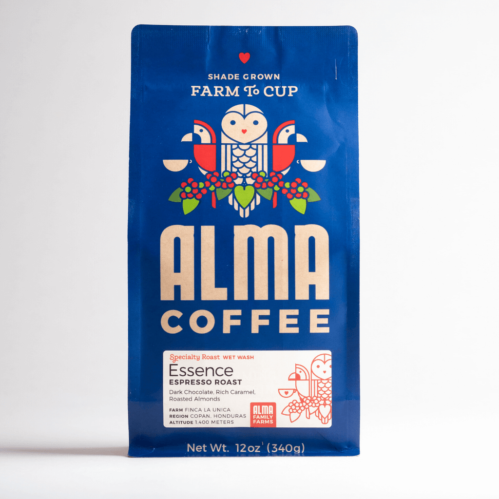 Espresso Roast Coffee from Alma Coffee that is roasted in North Georgia and origin is from a USDA certified organic coffee farm in Honduras
