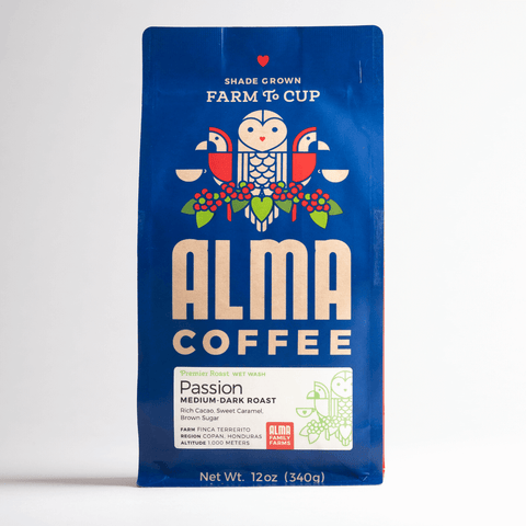 Medium Dark Roast Coffee from Alma Coffee that is roasted in North Georgia and origin is from a USDA certified organic coffee farm in Honduras