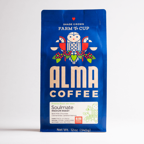 Medium Roast Coffee from Alma Coffee that is roasted in North Georgia and origin is from a USDA certified organic coffee farm in Honduras