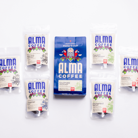 Alma coffee starter kit with all our most popular roasts, includes a medium roast, dark roast, espresso roast, decaf, natural process, and honey process, from our USDA certified organic farms in Honduras