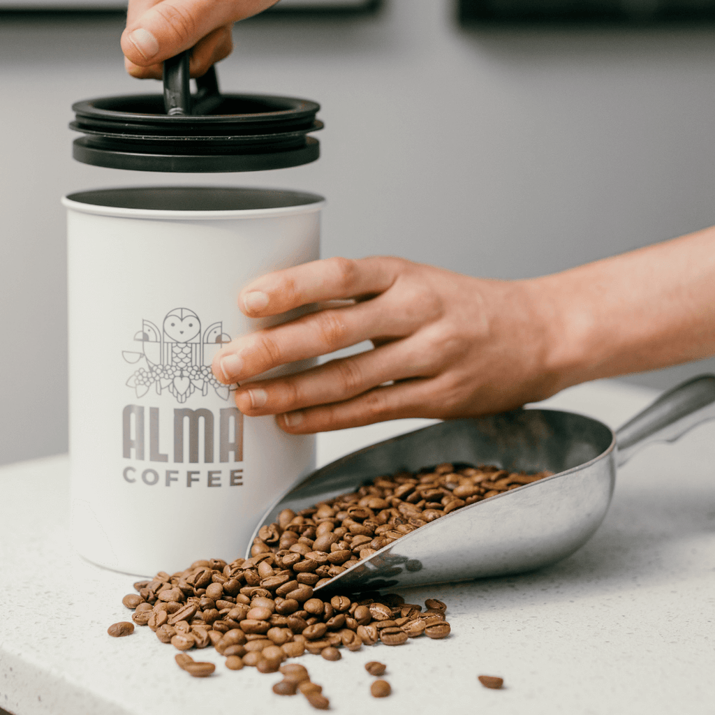 planetary design white coffee canister for alma coffee
