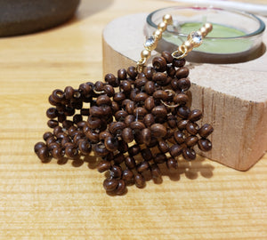 Wooden beaded earring