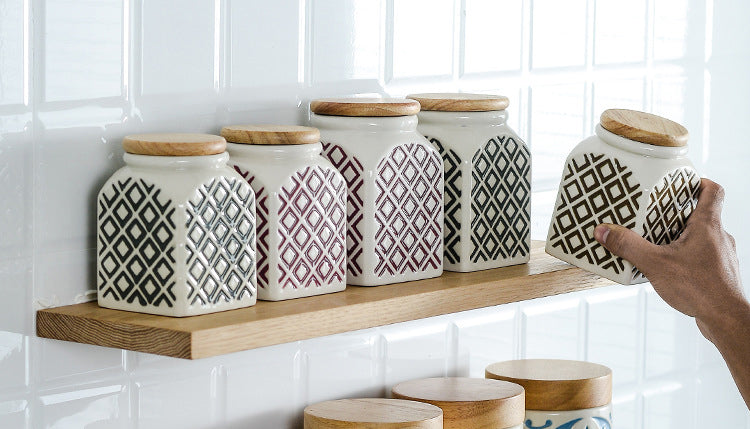 Patterned ceramic jars