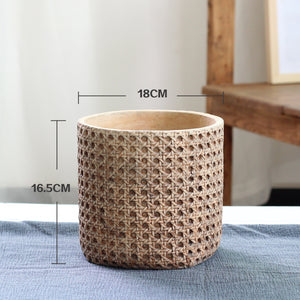 Textured matt ceramic planter