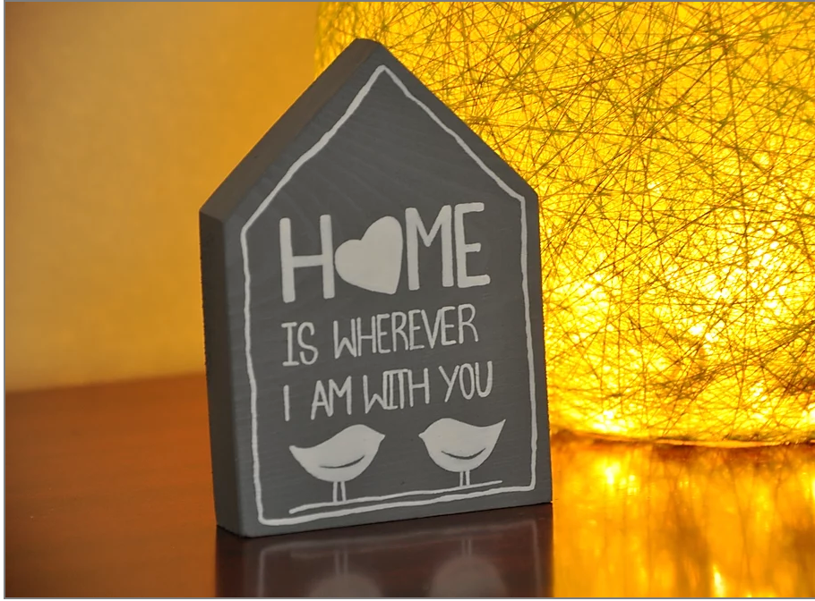 Wooden house table decor
