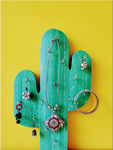 Cactus wooden jewelry and key holder
