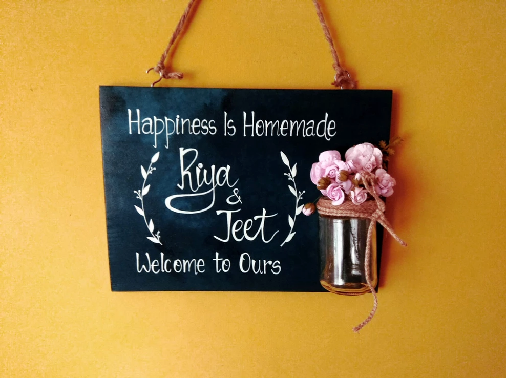 Name board with mason jar