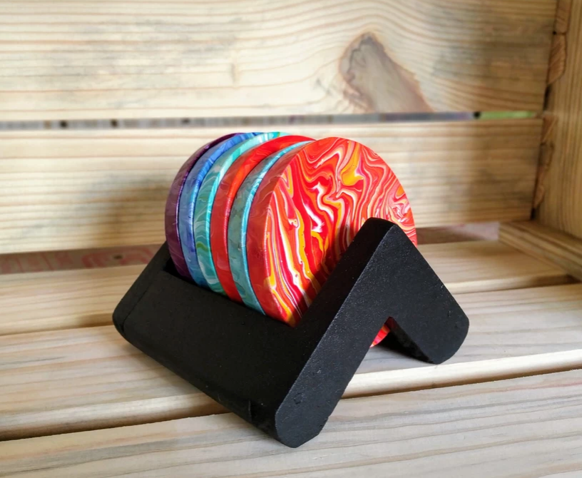 Multi colored set of 6 wooden coasters