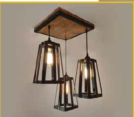Industrial metal and wood cluster lamp