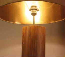 Wooden column floor lamp