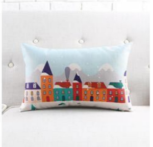 The winter town cushion covers