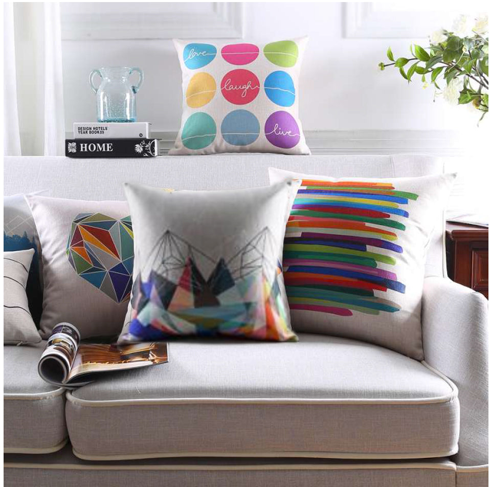 The colorful geometry cushion covers