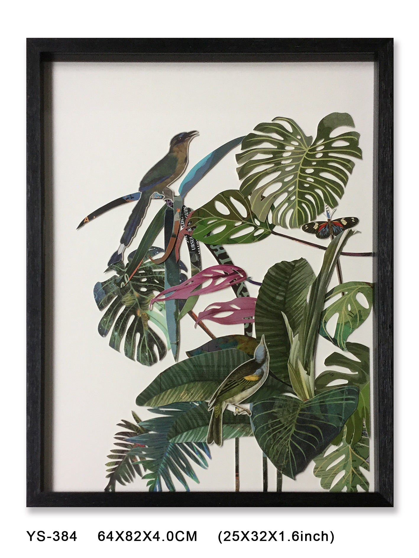Birds and fauna wall collage art