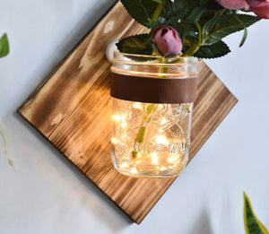 Wall mounted wooden hydroponic flower vase