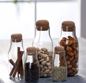 Glass storage bottles with wood plug - Tree By Four