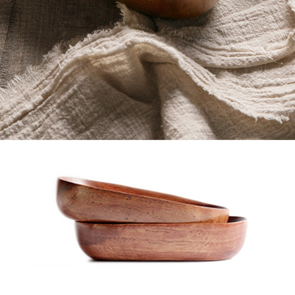 Oval shaped wooden bowl