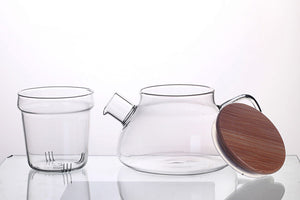 Glass teapot with infuser and wooden lid - Tree By Four