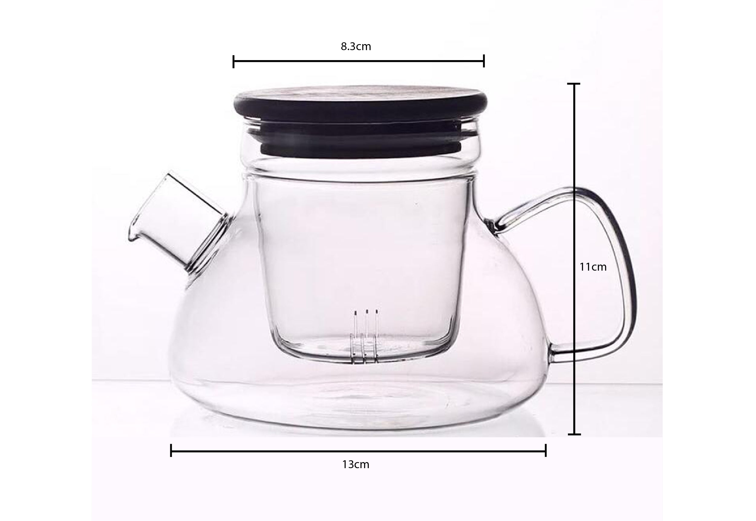 Glass teapot with infuser and wooden lid